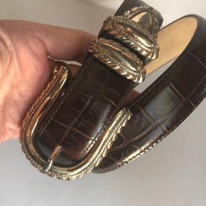 Vintage brown/silver Brighton leather belt
